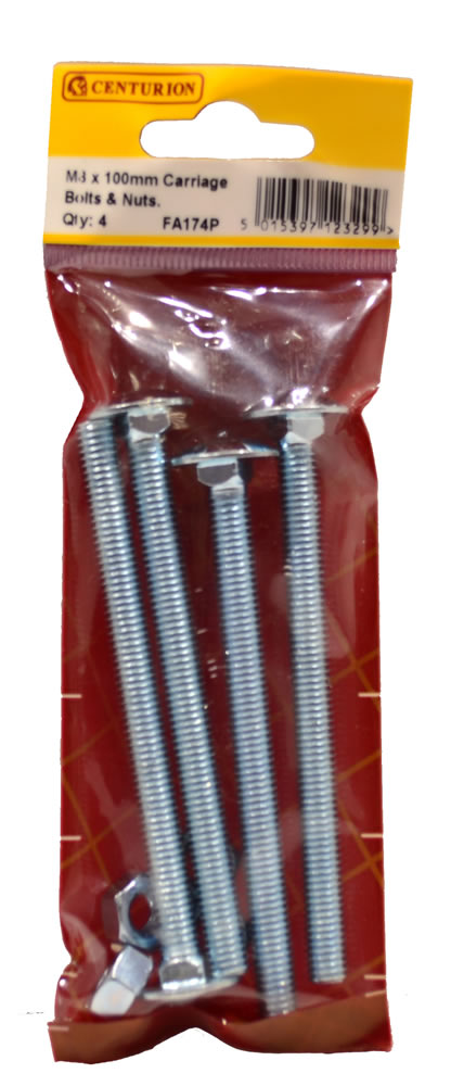 M8 x 100 mm Zinc Plated Small Carriage Bolts and Nuts Packet of 4