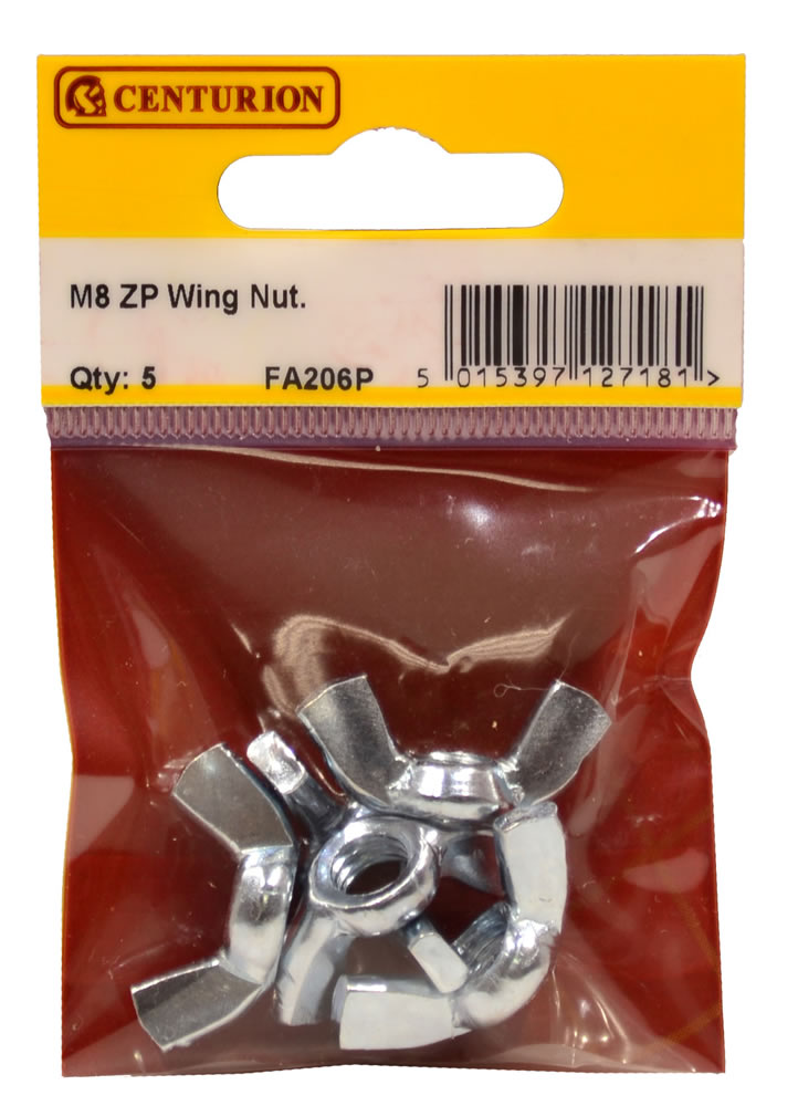 M8 Zinc Plated Wing Nuts Packet of 5