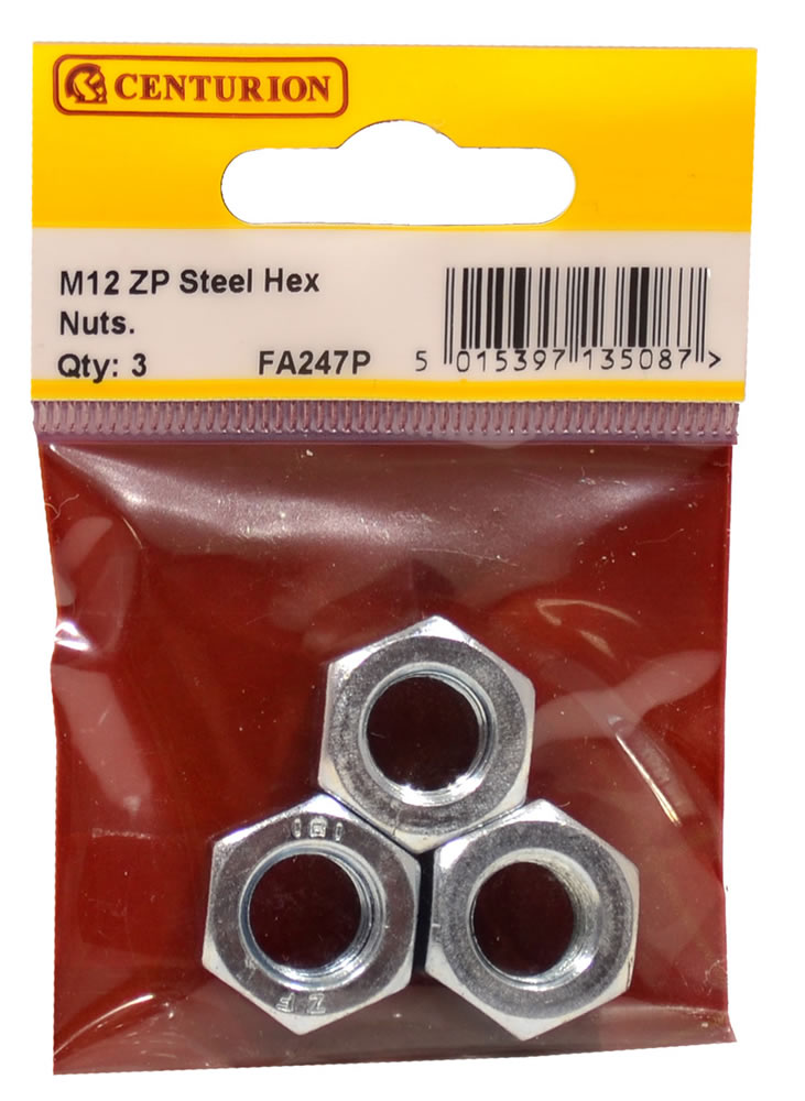 M12 Zinc Plated Steel Hex Nuts Packet of 3