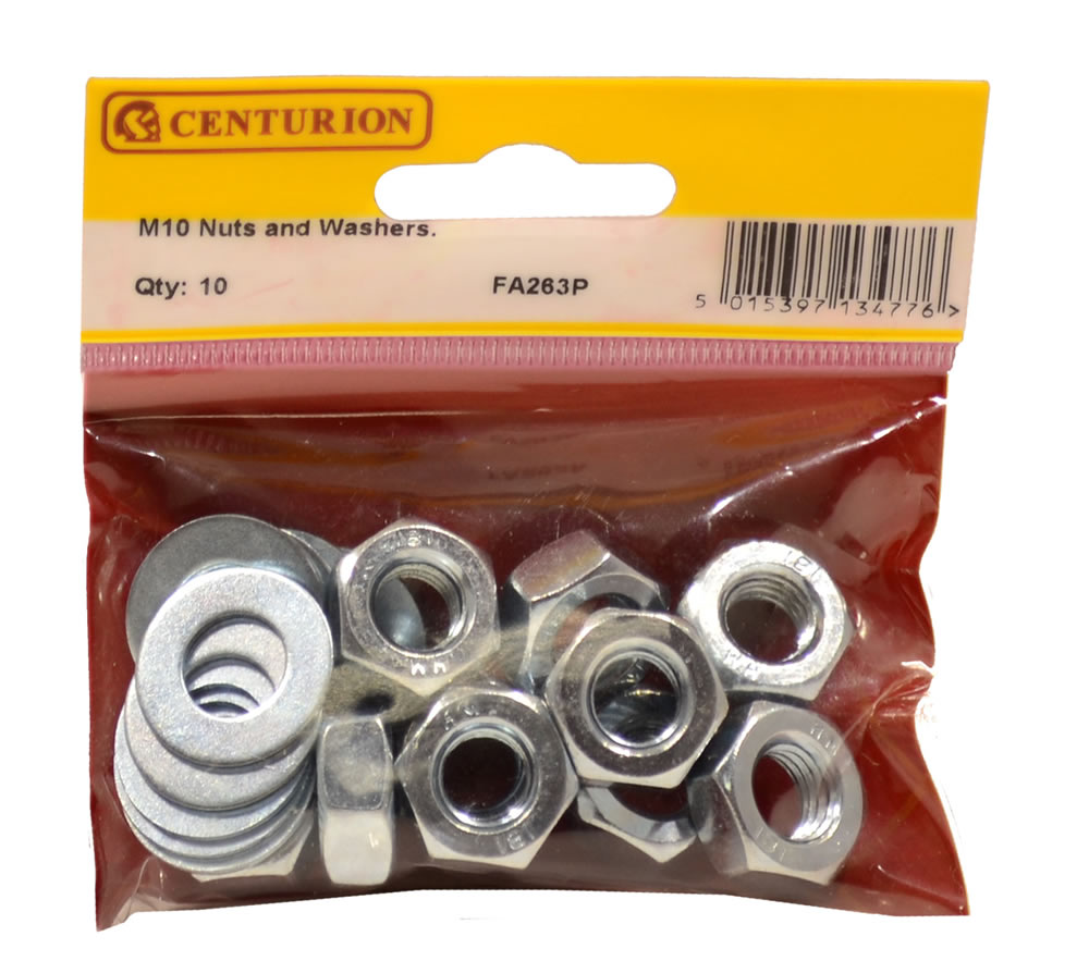 M10 Zinc Plated Nuts and Washers Packet of 10