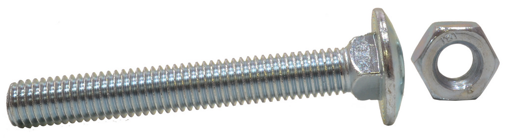 M10 x 75 mm Zinc Plated Small Carriage Bolts and Nuts