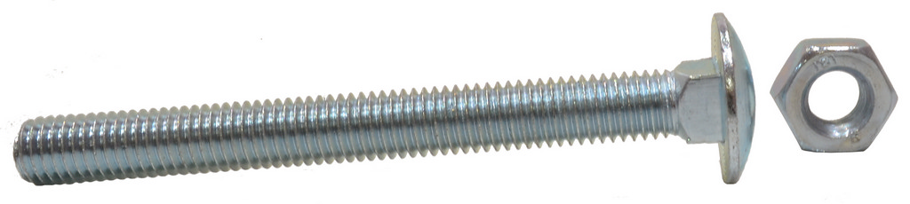 M10 x 100 mm Zinc Plated Small Carriage Bolts and Nuts