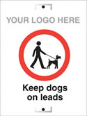 keep dogs on leads sign.