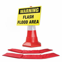 2 x HydroSnake Barriers 1 x Cone Sign