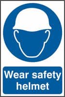 Wear Safety Helmet sign 1mm rigid PVC self-adhesive backing 200 x 300mm