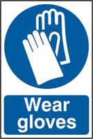 Wear gloves sign 1mm rigid PVC self-adhesive backing 200 x 300mm