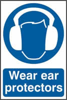Wear ear protectors sign 1mm rigid PVC self-adhesive backing 200 x 300mm
