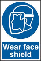 Wear face shield sign 1mm rigid PVC self-adhesive backing 200 x 300mm