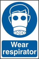 Wear respirator sign 1mm rigid PVC self-adhesive backing 200 x 300mm