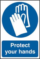 Protect your hands sign 1mm rigid PVC self-adhesive backing 200 x 300mm