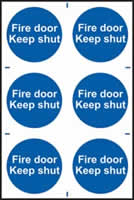 Fire door Keep shut sign 1mm rigid PVC self-adhesive backing 200 x 300mm