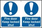 Fire door Keep locked shut sign 1mm rigid PVC self-adhesive backing 300 x 200mm