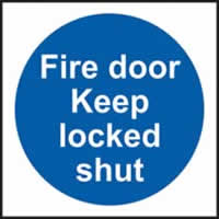 Fire door Keep locked shut Multipack of 20 sign 1mm rigid PVC self-adhesive backing 100 x 100mm