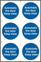 Automatic fire door Keep clear sign 1mm rigid PVC self-adhesive backing 200 x 300mm