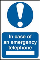 In case of emergency telephone sign 1mm rigid PVC self-adhesive backing 200 x 300mm