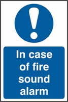 In case of fire sound alarm sign 1mm rigid PVC self-adhesive backing 200 x 300mm