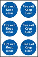 Fire exit Keep clear sign 1mm rigid PVC self-adhesive backing 200 x 300mm