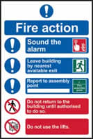 Fire action procedure sign 1mm rigid PVC self-adhesive backing 200 x 300mm