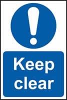Keep clear sign 1mm rigid PVC self-adhesive backing 200 x 300mm