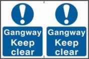 Gangway Keep clear sign 1mm rigid PVC self-adhesive backing 300 x 200mm