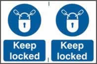 Keep locked sign 1mm rigid PVC self-adhesive backing 300 x 200mm