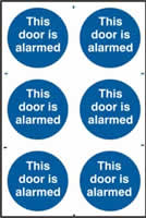 This door is alarmed sign 1mm rigid PVC self-adhesive backing 200 x 300mm