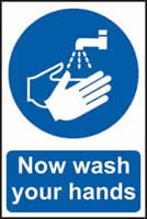 Now wash your hands sign 1mm rigid PVC self-adhesive backing 200 x 300mm