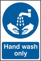 Hand wash only sign 1mm rigid PVC self-adhesive backing 200 x 300mm