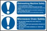 Dishwashing machine safety / Microwave oven safety sign 1mm rigid PVC self-adhesive backing 300 x 200mm