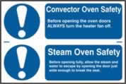 Convector oven safety / Steam oven safety sign 1mm rigid PVC self-adhesive backing 300 x 200mm