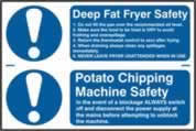 Deep fat fryer safety / Potato chipping machine safety sign 1mm rigid PVC self-adhesive backing 300 x 200mm