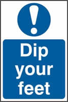 Dip your feet sign 1mm rigid PVC self-adhesive backing 200 x 300mm