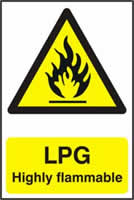 LPG Highly flammable - 1mm rigid pvc 200 x 300mm