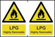 LPG Highly flammable - 1mm rigid pvc 300 x 200 mm