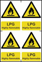 LPG Highly flammable - 1mm rigid pvc 200 x 300 mm