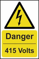 Danger 415 volts - s/a vinyl - 400 x 600mm label made from self adhesive vinyl