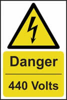 Danger 440 volts - s/a vinyl - 200 x 300mm label made from self adhesive vinyl