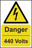 Danger 440 volts - s/a vinyl - 400 x 600mm label made from self adhesive vinyl