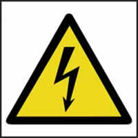 Hazard Warning Electrical Symbol - s/a vinyl - 100 x 100mm label made from self adhesive vinyl