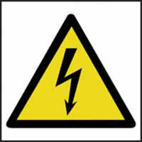Hazard Warning Electrical Symbol - s/a vinyl - 200 x 200mm label made from self adhesive vinyl