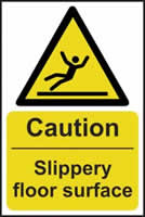 Caution Slippery floor surface - rigid plastic sign - 200 x 300mm