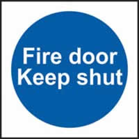 Fire door Keep shut self-adhesive vinyl 150 x 150mm