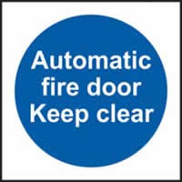 Automatic fire door Keep clear self-adhesive vinyl 150 x 150mm