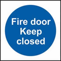 Fire door keep closed sign 1mm rigid plastic 150 x 150mm