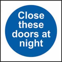 Close these doors at night self-adhesive vinyl 150 x 150mm