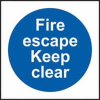 Fire escape Keep clear self-adhesive vinyl 100 x 100mm