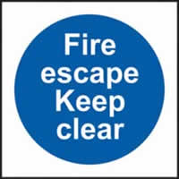 Fire escape Keep clear sign 1mm rigid plastic 150 x 150mm