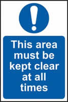 This area must be kept clear at all times self-adhesive vinyl 200 x 300mm