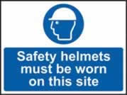 Safety helmets must be worn on this site sign 1mm rigid plastic 600 x 450mm