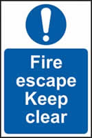 Fire escape Keep clear - rigid plastic sign - 400 x 600mm